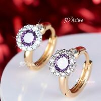 18K YELLOW WHITE GOLD GF HUGGIES PURPLE CRYSTAL FLOWER EARRINGS