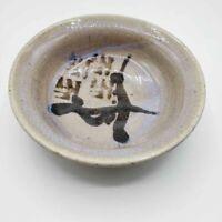 "Oriental Bowl Stoneware Studio Art Pottery Unique 6"" Glazed Artist Mark"