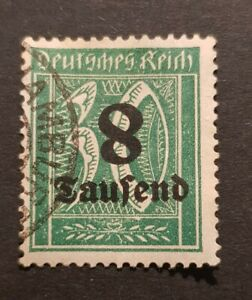 German Reich Weimar Inflation Michel 278 l  Inverted 8 overprint Stamp
