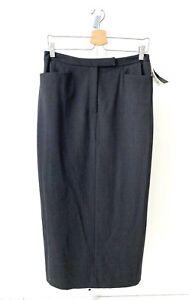 NWT RALPH LAUREN Straight Pencil Midi Skirt Pockets Wool Lined Gray Petite 12P