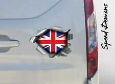 XL SPEED DEMONS PRIDE BURST STICKER SELF ADHESIVE CAR LAPTOP RIP TORN UNION JACK
