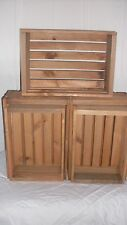 Rustic wood crates sets of 5 light brown by Mowoodwork made in USA