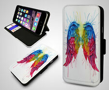 Angel Wings Pair Fairy Feather Fancy Colour Parrot Leather Flip Phone Case Cover