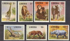 Liberia 1966, Animals complete mint NH #451-7 hippo,elephant,chimp,leopard