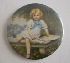Vintage Purse Size Hand Mirror Little Girl on Bench