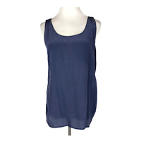 Vince Size L Navy Blue Mixed Fabrics Tank Top Silk Viscose  Sleeveless