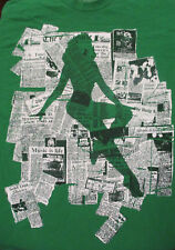 L green MUSIC TOUR t-shirt by CARBON - newspaper and sexy girl silhouette