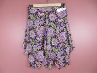 SK12407- NWT JONES NEW YORK Womens 100% Silk Asymmetrical Skirt Floral Sz 16 $99