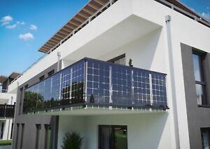 Balkongeländer SOLAR VSG Glas ☀️ Solarmodule im Glasgeländer - Alu Geländer