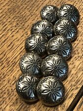 Silver Stamped Flower Concho Domed Button Set (10)
