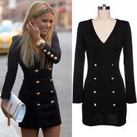 Women V Neck Long Sleeve Bodycon OL Wear To Work Club Party Military Mini Dress