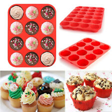 Silicone 12&24 Cup Muffin Cupcake Baking Pan Non-Stick Cake Mould Mold Tool Tray