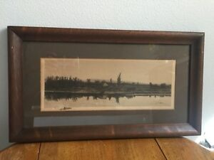 Antique Signed H Millspaugh 1889 Lake/River Countryside Etching