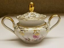 Winterling Bavaria Germany China Lidded Sugar Bowl Floral w Gold colored Edging