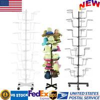 7 Tier Hat Display Retail Hat Rack Rotating Spinner Metal Floor Stand Adjustable