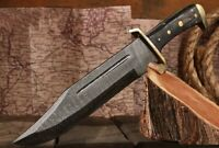 Large Damascus Steel Outlaw Fighting Bowie Knife Full-Tang w/Leather Sheath New
