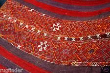 Cr1900s Large Antique Tribal Camel Bag Chuval Sumak Embroidered Panels Turkey