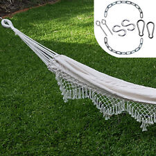 Large White Canvas Hammock with Tassels + FREE Hanging Kit