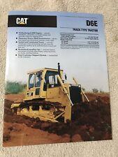 Caterpillar Tractor D6E Tractor Specalog Brochure Mint 1992 color 8 P