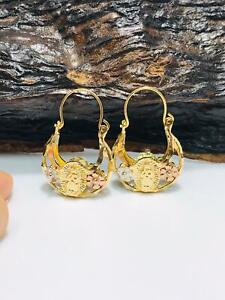 14K GF Our Lady of Guadalupe Hoop Earrings, Aretes Virgen Guadalupe Tres Oros.