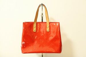 Authentic Louis Vuitton Monogram Vernis Reade PM Red Tote Bag  #8020