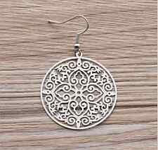 BOHO STYLE ornate FILIGREE drop EARRINGS round hoop hollow disc silver plated