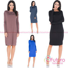 Ladies Basic Casual Loose Fit Cowl Neck Knee Length Dress Long Sleeve Tunic FM42