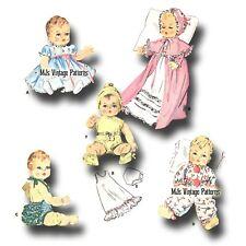"Vtg 1950s Baby Doll Pattern ~ 11"" 12""  Tiny Tears, Betsy Wetsy, Dy Dee, Kathy"