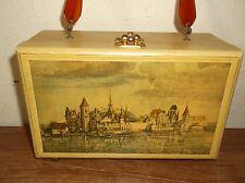 Vintage Decoupage Wooden Box Purse Bakelite Lucite Handle Signed 1969