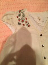 ANTHROPOLOGIE Meadow Rue Dress Swing Away Ivory 6 Medium Wool Short Sleeve