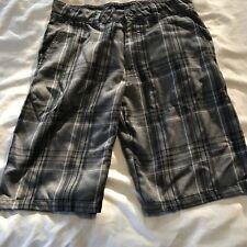 Men's O'Neill Strauss 2 Casual Shorts Sz 30 Gray Black Plaid- Teens-EUC