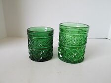 Lot 2 Anchor Hocking Flashed Green Wexford Pattern Barware Glasses Tumblers
