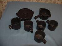 7 Piece Doverstone Dark Brown Stoneware Bowl Lid Pitcher Creamer Cups Sauce Pan