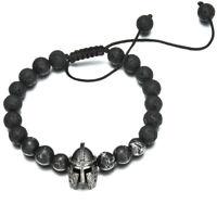 Men Black Spartan Helmet Beaded Volcanic Stone Adjustable Macrame Bracelets Gift