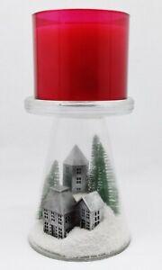Bath Body Works NORDIC VILLAGE GLASS PEDESTAL 3-Wick Large Candle Holder 14.5 oz