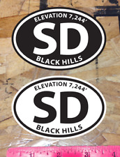 Sd South Dakota Black Hills Oval sticker decals Black and White - 2 for 1