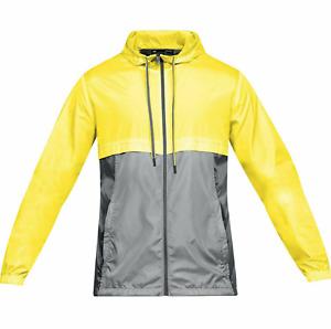 NWT $80 Under Armour Men's Sportstyle Windbreaker Jacket Yellow & Gray  1306482