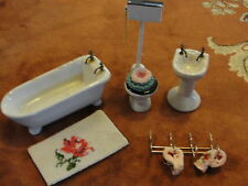 Porcelain Doll House Bathroom Fixtures -Claw Foot Tub, Sink, Toilet