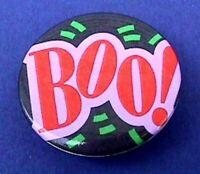 Hallmark BUTTON PIN Halloween Vintage BOO Caption Holiday Pinback