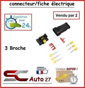 connecteur de fiche électrique pour véhicule 3 branchement vendu par deux
