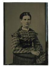 19th Century Fashion - Original Vintage Tintype - Young Woman Studio Portrait
