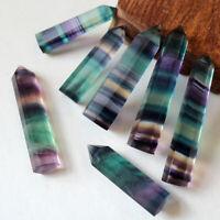 5Pcs Natural Rainbow Fluorite Quartz Crystal Point Wand Obelisk Healing Stone US