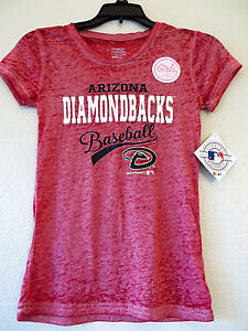 Diamondbacks Tee Distressed Red Sheer Soft Light Arizona Top Girls NWT