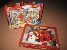 Christmas Jigsaws x2 1000 pcs Ltd edition Flying Santa Visit + A Christmas Wish