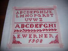 Stickmuster Tuch ABC Leinen Antik Faden rot 1908 Kreuzstich