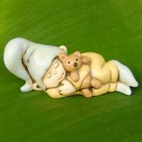 Sleeping Cute Gnome Sprite Pixie Bear Fairy Garden Figurine Shelf Desk Decor Toy
