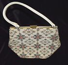 Vintage 50's 60's Ivory Tapestry Box Shape Handbag Bag Purse