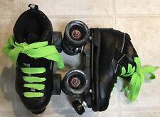 Gt-50 Rock Skates Roller Skates Size 4 Quads 4X4 Derby Speed Rink Black Green