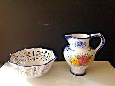 Set 2 VTG Vestal Portugal Pottery Hand-painted Floral Large Bowl & Jug/Pitcher