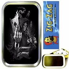 GRIM REAPER CARD SMOKING SET, GOLD 1oz TOBACCO TIN, ROLLING PAPERS & FILTERS